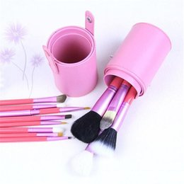 Wholesale Wholesale Professional Makeup Brush Holder - 12pcs Makeup Brush Set+Cup Holder Professional Cosmetic Brushes set With Cylinder Cup Holder DHL free ship
