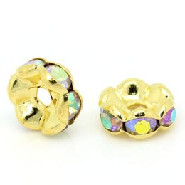 Wholesale 8mm Rondelles - 2015 New 50PCs Spacer Beads Rondelles AB Color Rhinestone Gold Plated 8mm Dia. Free Shipping