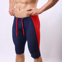 Wholesale Mens Short Tight Swim Trunks - Wholesale-B2227 Mens Sportswear Mesh Net Running Tights Cycling Swimming Yoga Shorts Trunks Bodybuilding Outdoor Shorts Brave Person