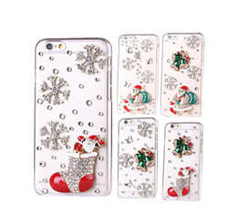 Wholesale Iphone Christmas Santa Case - 2015 Newest Design Christmas gift Luxury fashion Glitter Rhinestone Santa Claus Snow Bell clear phone case for iphone 6 6s plus 5s 4s