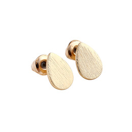 Wholesale Copper Brushes - 10pcs Gold Silver Pink Gold Plated Brushed Eardrop Stud Earrings for Women Water Drop Earrings ED056