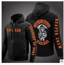 Wholesale Men S Cashmere Cardigan Sweaters - 2017 new European Code Sons of annrcy samcro and the sons of anarchy cashmere sweater zipper cardigan jacket M