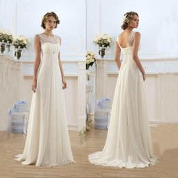 Wholesale Sheer Beach Gowns - Lace Chiffon Empire Wedding Dresses 2016 Sheer Neck Capped Sleeve A Line Long Chiffon Wedding Dresses Summer Beach Bridal Gowns Hot Selling