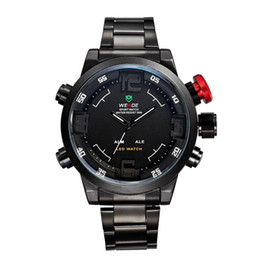 Wholesale Weide Wristwatches - WEIDE Men Sports Watches Mens-watches Casual Stainless Steel Belt Mens Sports Watch Outdoor Watch Round Wristwatch Watches For Mens 6 Colors
