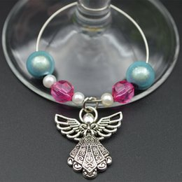 Wholesale Wineglass Charm Rings - 6pcs lot Table Wineglass Beads Ring With Angel Charm Decoration Wedding Party Banquet Goblet Chain Ornament wj007