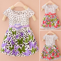 Wholesale Idea Red - Girls dresses 2015 baby kids children's clothing summer new girls on the idea of two flower Dot Butterfly dress