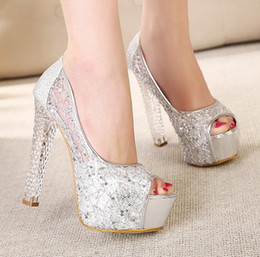 Wholesale European American Crystal Shoes - European and American sexy silver lace sequins crystal high heels waterproof taiwan dress shoes evening party bridal wedding shoes yzs168