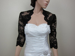 Wholesale Keyhole Bridal Jacket - Bridal Jackets Capes 3 4 Long Sleeves Black Lace Wedding Boleros Shrug Feel Romantic Keyhole Back Bride Evening Coat