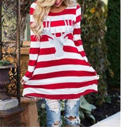 Wholesale Womens Batwing Sleeve Dress - Striped Moose Head Printed Womens Casual Dresses O-neck Long Sleeve Women Loose A-line Long Shirt Skirts Christmas