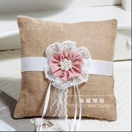 Wholesale Cheap Wedding Ring Pillows - Hot Sell Cheap flaxen Ribbon Bridal Rings Pillows Garden Wedding Pearls Flower Ring Pillows Free Shipping