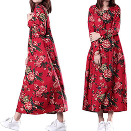 Wholesale Folk Skirt - Good quality folk style large size women fall 2017 new stamp skirt loose and long sleeve cotton dress