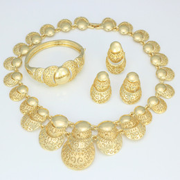 Wholesale Golden Clothes China - 2015 High quality 18K gold plated jewelry sets African Hollow Design Gold Necklace Bracelets earrings Women wedding Clothing jewelry sets