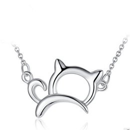 Wholesale Kitty Hello - Orsa Jewelry New Arrival Cute & Lucky 925 Sterling Silver Cat Necklaces and Pendants Necklace Jewelry PN05