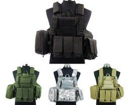 Wholesale Molle Black Vest - Fall-Molle Airsoft Tactical Strike Plate Carrier Combat Vest Black OD ACU Tan free shipping