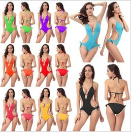 Wholesale Ties Solid Colours - Women's Sexy One-piece Swimsuit Swimwear Tie Side Padded One Piece Monokini Halter Cutout V-neck Swimsuit 8 Colour Option VS003