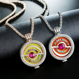 Wholesale Jewelry Diamonds Perfume - 2018 Hot Aromatherapy Perfume Necklaces Essential Oil Diffuser Necklaces Diamond Locket Chain Hollow Out Galaxy Shape Censer Chain Jewelry