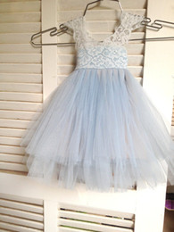 Wholesale French Red Dressing - Magic Orchid Light blue Flower Girl Dress French lace and tulle dress for baby girl blue princess dress tutu