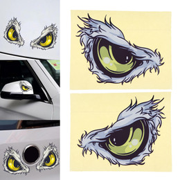 Wholesale Cars Windshield Eyes - 2pcs 3D 10 x 8CM Reflective Material Eye Pattern Creative Funny Stereoscopic Car Sticker Accessories CEA_31J