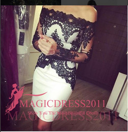 Wholesale One Long Sleeve Mini Dress - Top Quality Little Black Cocktail Dresses Short Lace Party Prom Gowns 2015 Occasion Dress Sheath Off-Shoulder Appliques Homecoming Evening