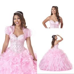 Argentina Hermoso vestido de bola cariño quinceañera vestidos de barrido de organza cristal con cuentas de encaje hasta vestidos de baile populares nuevos vestidos de quinceañera Suministro