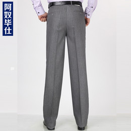Wholesale Pleated Wool Pants - Wholesale-2015 summer business Wool trousers for male Wash and wear black sapphire professional business with pleated pants cultivate