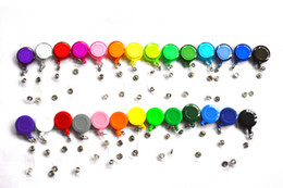 Wholesale Retractable Id Badges - 27 Colors Retractable Anti-Lost Clip Buckle Security Card Badge Holder Reels Ski Pass ID Card KeyChain Ring Reels Clip