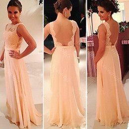 Wholesale Long Sexy Peach Bridesmaid Dresses - Hot Sale 2015 Peach Bridesmaid Dresses Sexy Backless Cap Sleeve Sash Chiffon Lace Bateau Evening Gown Formal Prom Maid of Honor Dress Custom