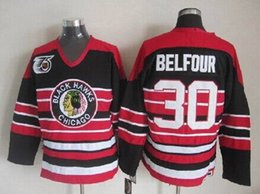 Wholesale Belfour Jersey - Low Price Mens Chicago Blackhawks 75th Anniversary Jerseys #30 Ed Belfour Red CCM Vintage Ice Hockey Jersey