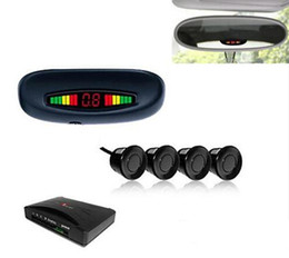 Wholesale Car Led Parking Sensors - Car Parking Assistance Sensor 3 Colors LED Distance Display Rear Roof Mounting 4 Sensors Radar Kit System