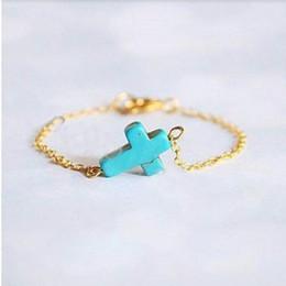 Wholesale Wholesale Jewelry Vintage Chic Bracelet - 2015 New Fashion Boho Chic Vintage Bracelet Gold Plated Chain Tassel Blue Turquoise Cross Bracelet Punk Jewelry For Women Gift [JB06285*12]