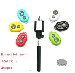 Wholesale Camera Telescopic Monopod - For iphone6 Bluetooth Remote Self-timer Camera Shutter & Extendable Handheld Tripod Monopod Handheld Monopod Extendable Telescopic Pole