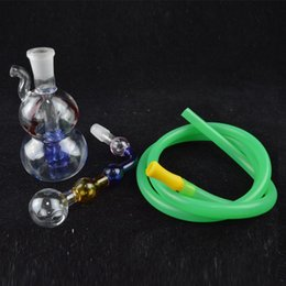 bong gourd Promo Codes - Smoking Hookah Mini Glass Water Bong 3.5 inch Colorful Downstem Gourd Recycler Oil Rigs Beautiful Bubbler Pipes with 10mm Pot Roast and Hose