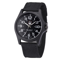 Wholesale Watches For Army - NEW Men's Date Canvas Sport Watch Analog Quartz Fashion Army Luxury Brand Wrist Watches For Men