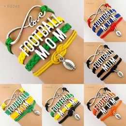 Wholesale Rugby Day - Infinity Wish Love Football Mom Cheer Cheerleading Cheerleader Football Pendant Rugby Charm Wrap Bracelet Sports Jewelry Leather Wax Unisex