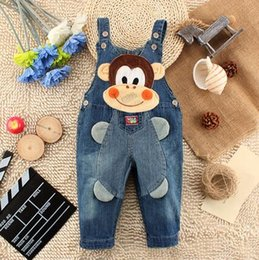 Wholesale Overall Monkey - Wholesale Children's cartoon cowboy pants overalls infants and young children Monkey Printed Free Shipping