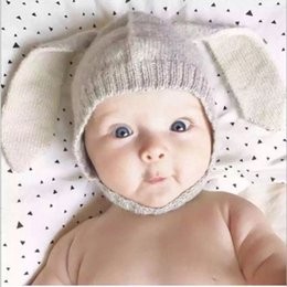 Wholesale Long Dyed Red Hair - Baby hat extra thick children hat autumn winter long ear rabbit ears knit cap baby hair line hat