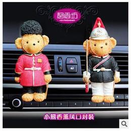 Wholesale Perfume Bear - 2015 Hot Sale Big Brand Carton Bear Car Vent Perfume Balm Car Air Freshener Car Perfume Oxygen bar 2PCS SET