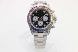 Wholesale Diamond Mechanical Watch - Luxury mens automatic mechanical Rainbow diamond watch wristwatch full white stainless steel original clasp sapphire glass quality