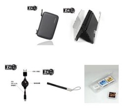 Wholesale 3ds Travel Case - Wholesale-New 3DS 5in1 Essential Travel Kit ( EVA case+Crystal case+charging data cable+hand strap+card holder)