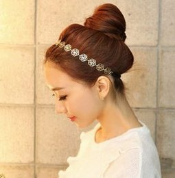076Lovely Chain Elastic Hollow Out Rose Flower Stretch Hair Band Headband  Metallic Wholesale accessories hair accessory Free 8f03406a5f34