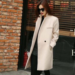 Wholesale Tailor Suit Women - Elegant Women Wool Coat Tailored Suit Collar V-Neck Long Female Overcoat Loose Trench Coat Plus Size Clothing White Black