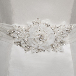 Wholesale Tie Back Sash - 2015 Stunning Bridal Sash Handmade Flowers Wedding Dresses Belts with Beading Sequins Pearls Organza Tie at Back Adjustable Size