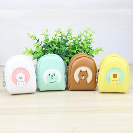 Wholesale Lovely Gadget - Lovely cartoon PU coins purse kids mini change, keys gadgets storage pouch bag brown, white, blue