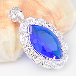 Wholesale Wholesale Swiss Blue Topaz - 10 Pieces 1 lot Luckyshine Best Wholesale Fire Swiss Blue Topaz Crystal 925 Sterling Silver Russia American Australia Pendants for necklace