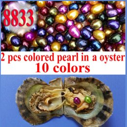 Wholesale Assorted Silver - 10 PCS free shipping Love wish twins pearl oyster 6-8mm assorted color twins pearls in oyster with vacuum-pac