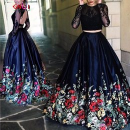 Wholesale Backless Tops Open Back - Unique Floral Flowers Pattern Print Two Piece Prom Dresses Robe de Soiree Open Back Lace Top Formal Evening Dress Party Gown
