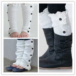 Wholesale Leg Warmer For Toddler - Wholesale-High Quality Ivory Boot Leg Warmer Knitted Boot Cuffs Button Down Leg Warmers for Toddler Girls