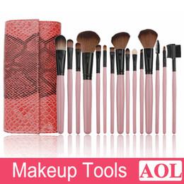 Rouler les cheveux en Ligne-15 pcs pinceaux de maquillage professionnel maquillage cosmétique Set Kit outil + Roll Up cas eyeliner pinceau à lèvres doux chèvre cheveux serpent modèle