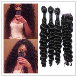 Wholesale Deep Curl Lace Closure - Deep Wave Curly Brazilian VirginWeft Hair Human Hair Weaves 8A deep Curl Hair with top lace closure 4bundles lot free shipping