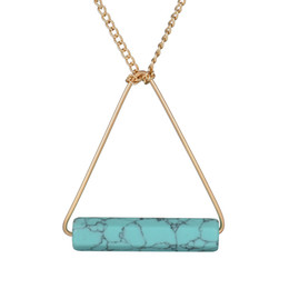 Wholesale Necklace Big Geometric - DHL Free Shipping Wholesale Gold Chain Summer Style Jewelry Cylindrical Geometric Big Marble Finish Marbled Turquoise Stone Women Necklace